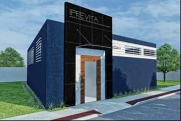 Nova Fachada da Sede do IPREVITA demonstrada no projeto executivo após reforma e ampliação